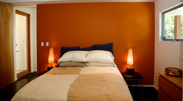 Modern Contemporary Park House Bedroom Interior Design  with Orange and White Wall For Apartment Design Ideas