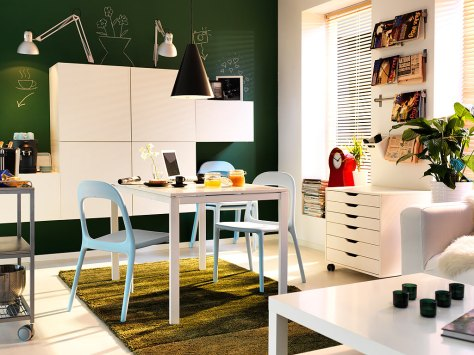Attractive Furniture and Interior Scheme Small Apartment With Dining Table